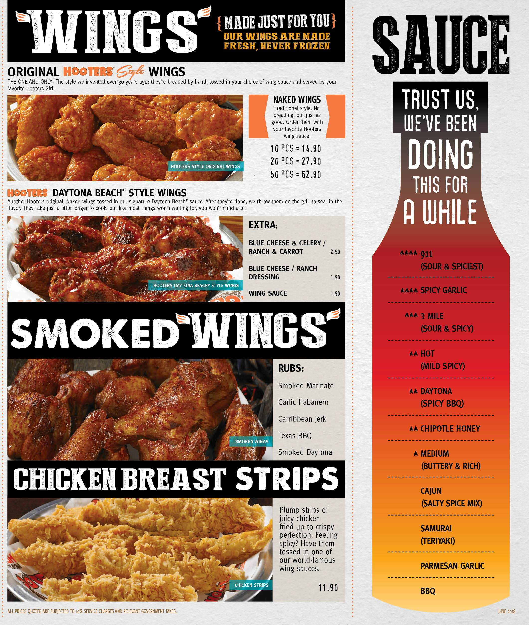 Hooters Main Menu